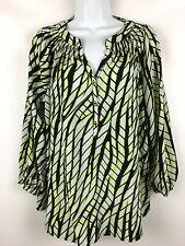 NEW DANA BUCHMAN Wear To Work  3/4 Sleeve Popover Blouse Top Green Black XL