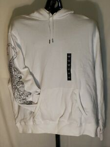 Sean John Mens Big and Tall Tiger Skull Embroidery Hoodie White 3XL