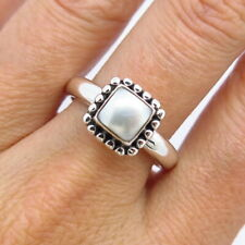 Silpada Retired 925 Sterling Silver Mother of Pearl Dotted Frame Ring Size 9