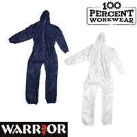 Warrior Polypropylene Zip Fastening Disposable Coveralls Overalls Dust Suit Hood