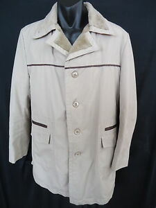 LONDON FOG Mens Coat Size 40 L Beige Knee Length Fur Lined Button Up VGC 61WW