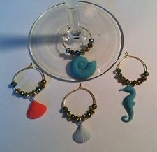 wine glass charms SEA SHELLS set of 4 save 2.07 with free shipping