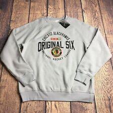NHL CCM Adult Large Chicago Blackhawks Original Six Stone Fleece Crewshirt New