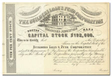 Builders Loan & Fund Corporation Stock Certificate (1800's, Boston)