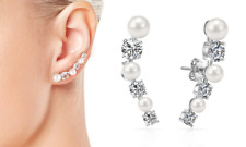 White Pearl + Crystal Climber Earrings with Crystals from Swarovski®