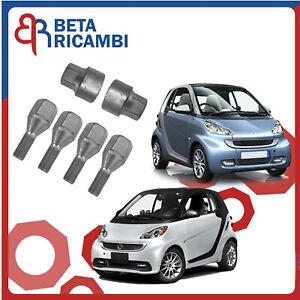 Kit Bulloni Antifurto Per Smart 450 451 Fino al 2014 Ruote In Acciaio O Lega
