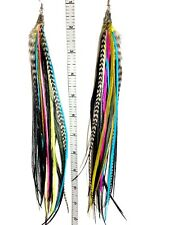 Owlita Inspired Whiting Farms Long Full Feather Earrings (Olive, Pink, Blue)