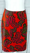 Talbots Paisley Pencil Skirt Velvet FInish Lined Red Zip & Hook Closure Size 6