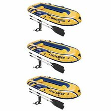 Intex Inflatable Raft Boat Set With Pump And Oars, Yellow (3 Pack)