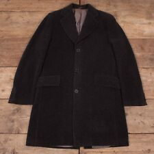 """Mens Vintage Replay Black Wool Mohair Overcoat Coat Medium 40"""" R6935"""