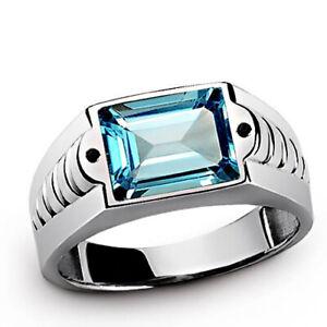 Natural Blue Topaz Gemstone 14K White Gold Men's Ring SR7429