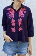 Anthropologie MAEVE Embroidered Shirt Purple Pink Blouse Top Sequined Sz 8