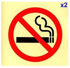 2x 75mm NO SMOKING CLEAR Transparent Adhesive Sticker Sign Taxi Bus Car Van Door