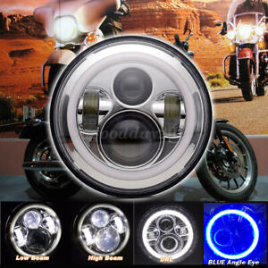 "7"" Round LED Angel Eyes Halo Headlight For Jeep Wrangler Harley JK TJ LJ CJ"