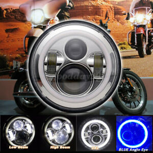 "7"" Round LED Angel Eyes Halo Headlight For Jeep Wrangler Harley JK TJ LJ CJ"