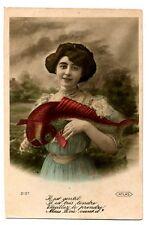 CPA Fantaisie 1er Avril femme et poisson