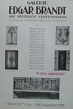 PUBLICITE EDGAR BRANDT FER FORGE LAMPE PORTE BALCON DE 1927 FRENCH AD ART DECO