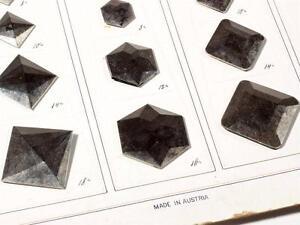 Collectible Austrian sample card 23 Antique silver gilt geometric glass buttons