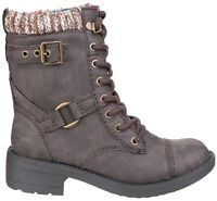 Rocket Dog Thunder Long Biker Lace Boots Heeled Ladies Fashion Shoes Womens