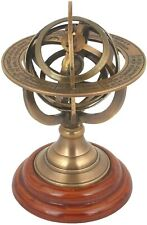 V.N.H Armillary Astrolabe Sphere Showpiece,Made from Brass and Wooden Base