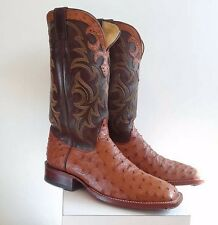 Justin Cowboy Boots 8506 Brown Ostrich Square toe, steel taps Men's Size 9.5
