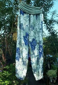 Blue/Sage Floral Print Trousers Comfy Loose fit Free Size 10/12 Casual/Travel