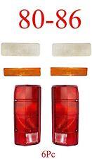 80 86 Ford 6Pc Clear Front Parking Light, Side Fender Light & Tail Light Set NIB