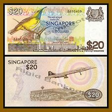 Singapore 20 Dollars, 1979 P-12 Yellow-Breasted Sunbird Unc