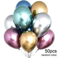 50pcs Latex Metallic Balloons 12 Inch Assorted Shiny Balloons Party Balloons