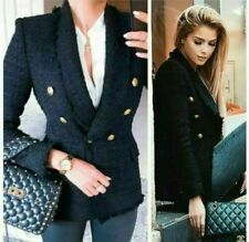 Zara Chaqueta Tweed Deshilachado Blazer Militar TALLA XS