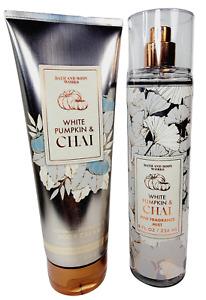 Bath & Body Works WHITE PUMPKIN & CHAI Body Lotion Fragrance Mist Set NEW