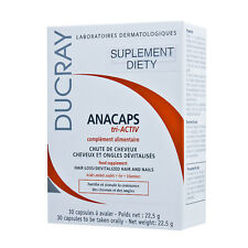 DUCRAY Anacaps Tri-ACTIV 30 CAPS - ANTI HAIR LOSS - FREE SHIPPING ALL WORLD !!!