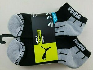 Puma Men's Low Cut Socks 6 Pack L Black Grey Training Half Terry New MSPR$18