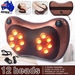 12 Shiatsu Electric Massage Pillow Back Neck Heat Knead Body Massager Home Car