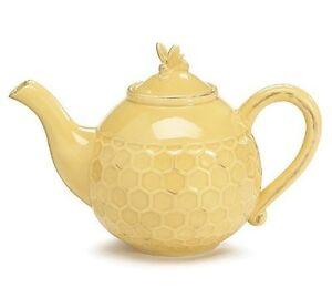 """burton+Burton Ceramic 4 Cup Teapot Tea Pot 5.8"""" HONEYCOMB MELODY"""