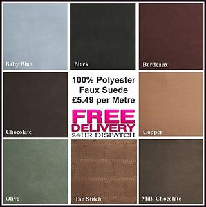 New 100% Polyester Faux Suede Fabric Material Craft Quilting in 8 great colours