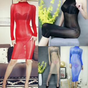 Women Glossy Oil Shiny Bodystocking See Through Sheer Bodysuit Tights Bodyhose
