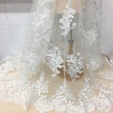 "1 Yard Ivory Eyelash Embroidered Mesh Fabric Wedding Dress Lace Fabric 51"" Width"