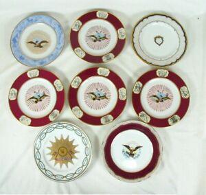 Vintage Large Round Sorelle Platter and 6  SaladDessert Plates Green Mint Garden Pattern