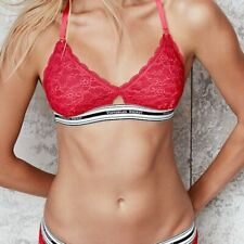 NWT Victoria's Secret Red The Lace Logo Unlined Bralette Bra Large