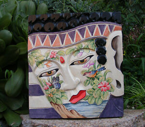 "Bali Buddha Wood Plaque Mask w/ Tattoo Art Asian Home Decor Hand Made 16"" x 9"""