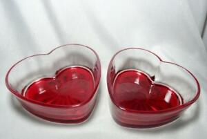 Libbey Glass Valentine's Day Wedding Red Heart Shaped Bowls Dish - Set of 2
