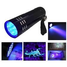Pocketable UV Ultra Violet Blacklight 9 LED Flashlight Torch Light Black