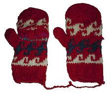 Winter GLITTEN - Red Handmade Natural Pakistani Wool - Texting Glove Mitten B6