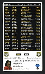 Charleston Battery--2007 Magnet Schedule--USL