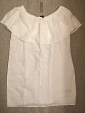 New JCrew Off The Shoulder White Linen Cotton Dress Size S F9424 SOLD-OUT!