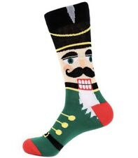 New Mens NUTCRACKER NOVELTY Crew Socks GREEN, CHRISTMAS Parquet Brand Size 10-13
