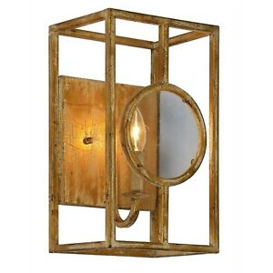 """Wall Sconce """"The Bates"""" with Magnify Glass Front and Aged Gold Painted Finish"""