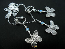 A TIBETAN SILVER BUTTERFLY/OPALITE BEAD NECKLACE AND CLIP ON EARRING SET. NEW.