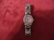 Disney Time Works Tinkerbell Watch Silver Tone Pink Dial